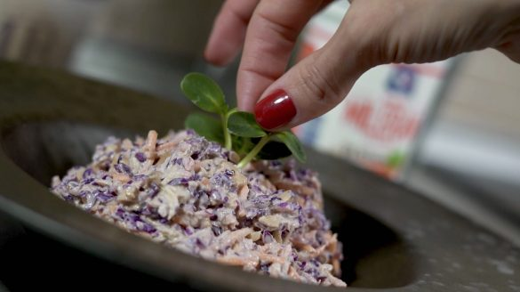 Salata od crvenog kupusa, sargarepe, belog pileceg mesa i indijskog oraha